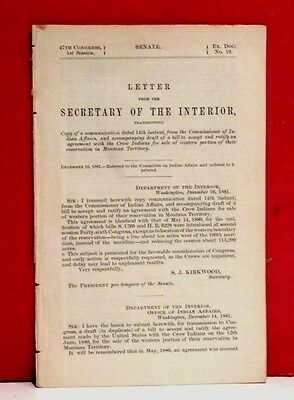 Senate-Agreement with Crow Indians for Sale of Their Reservation in Montana-1881