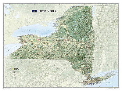 National Geographic New York State Laminated Wall Map