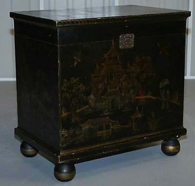 Stunning Antique Hand Painted & Ebonised Wood Trunk With Storage Piano Stool