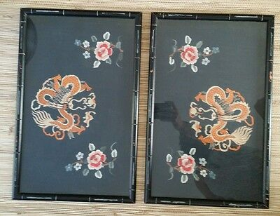 Pair Bamboo Framed Chinese Dragon Eating Sun Silk Embroidered Wall Art Black