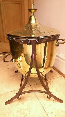 Antique Edwardian Brass Arts And Crafts Coal Bucket Stunning Classical Rare