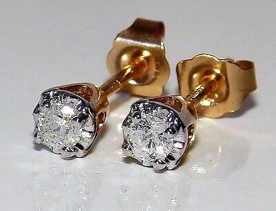 9Ct Yellow Gold 0.15Ct Diamond Claw Set Solitaire Stone Stud Earrings