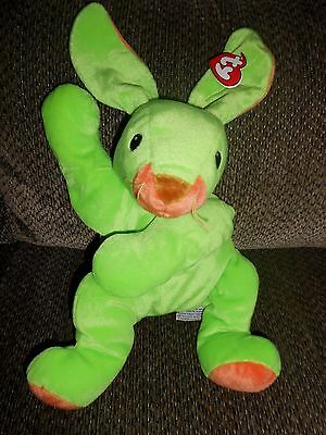 "Toy Bunny Rabbit TY Pillow Plush Green Orange Pal 14"" Stuffed Animal Green 1998"
