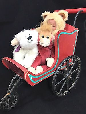 Vintage Santa Sleigh Carriage Buggy Stroller Toy Baby Doll Wood Cast Iron Wheels
