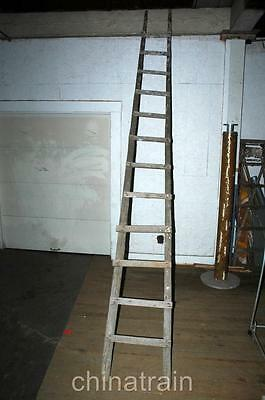 13.5' Foot Antique Vintage Primitive Farm Barn Orchard Painting Wooden Ladder