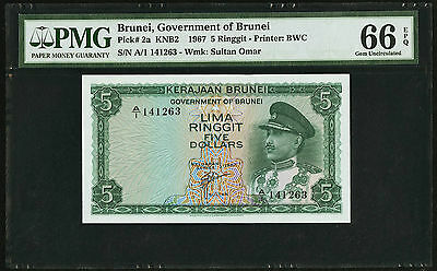 BRUNEI 1967 PICK-2a FIRST SERIE 5 RINGGIT SN A/1  PMG 66 EPQ...LOVELY EXAMPLE