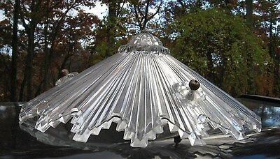 Vintage Glass Ceiling Shade 3 Hole Chain Mount Art Deco Star Design
