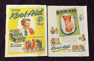 1940's Color Kool Aid Chesterfield Cigarette Magazine Advertisements WW2