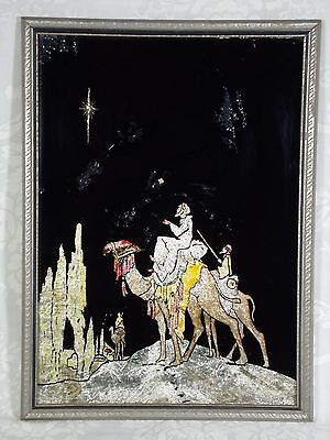 Vintage Framed Tinsel Backed Reverse Painting on Glass of the 3 Wise Men