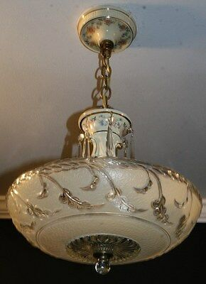 Antique beige glass porcelier art deco light fixture ceiling chandelier 40s