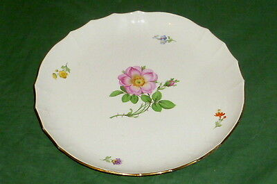 Antique large Meissen Bowl Platter Porcelain Colorful Flowers Rose decoration