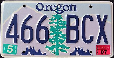"""OREGON """" TREE - 466 BCX """" 2007 OR Graphic License Plate"""