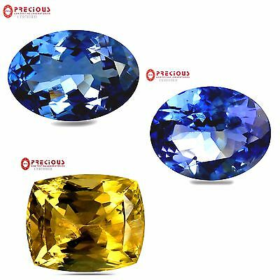 3 Pcs Lot, Certified Natural tanzanites, 2 blue and one yellow.