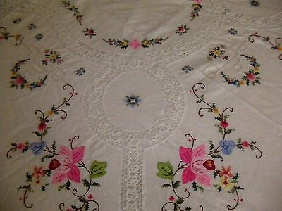 Vintage White  Pure Cotton Crochet and Embroidered Rectangular Tablecloth