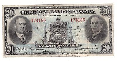 1935 Royal Bank of Canada $20 Banknote 18-06a large sign. FINE-15+ obverse ink
