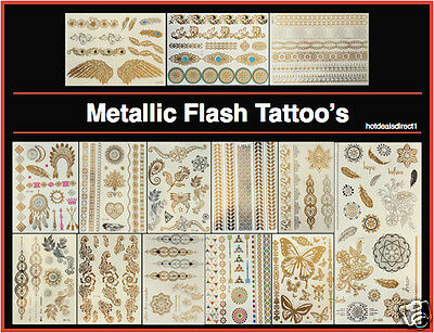 Metallic Flash Temporary Tattoo Gold Sticker Bracelet Butterfly Indian Body Art