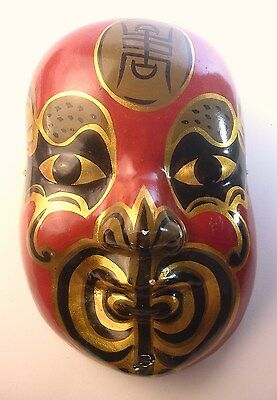 Vintage Japanese Paper Mache Noh Theatre Style Mask- Large Display Size