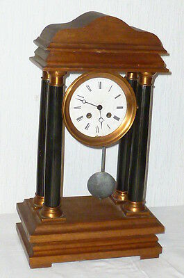 Antique Portal Watch Pillar clock Table Pendule Mantel Historicism ? Oak