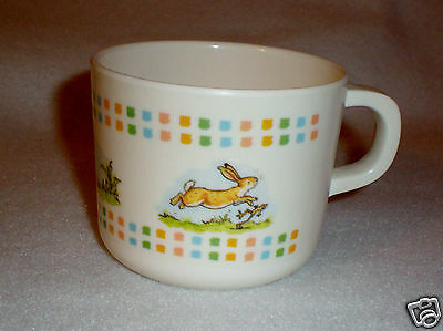 """Child's Melamine Ware Cup - Bunny and Frog """"Springtime Frolic"""" EUC"""