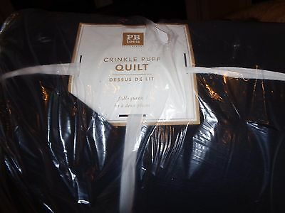 Pottery Barn Teen Crinkle Puff full Queen  quilt + 2 euro sham black New