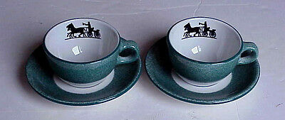 (2) Shenango CUP & SAUCER SETS Horse Drawn Carriage Silhouette Restaurant Ware