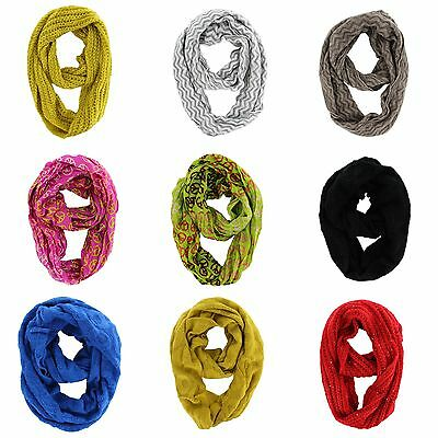Lot Of Assorted Design Women Fashion Winter Knit Cable Infinity Cowl Scarves