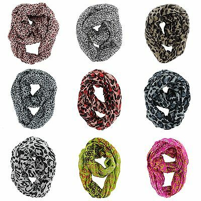 Lot Of Assorted Design Women's Fashion Cable Infinity Cowl Animal Print Scarves