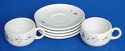 1956-61 FRANCISCAN China DUET 2 Cups / 4 Saucers California Pottery Mid Century
