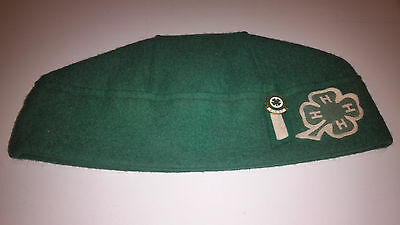 Vintage Leslie Carman Green 4-H Felt Uniform Hat Large With First Year Pin