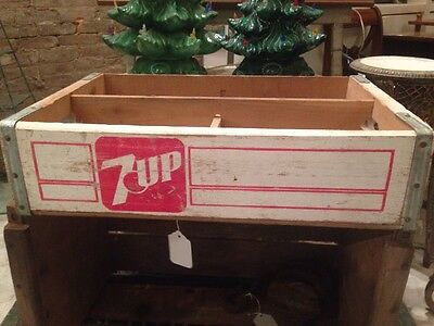 Vintage Pennsylvania With 7up Wood Soda Bottle Crate Carrier Box