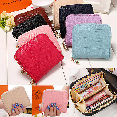 Unisex Women Leather Small Wallet Lady Card Holder Zip Coin Purse Bag Handbag