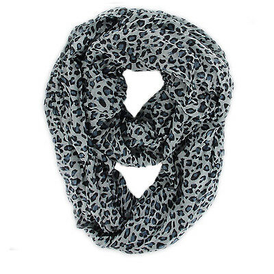 """New Women's Fashion Gray Leopard Animal Print Infinity Loop Scarf 37"""" By 70"""""""