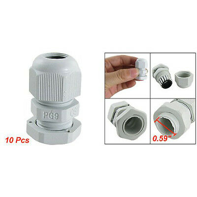 10 Pcs PG9 White Plastic Waterproof Cable Glands Joints LW