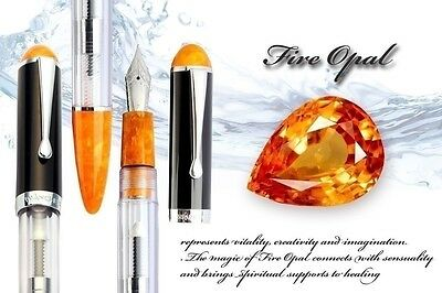 WANCHER CRYSTAL DOUBLE COMPACT Transparent Demonstrator Orange Fine Fountain Pen