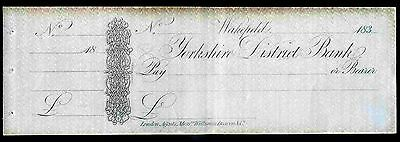 Yorkshire District Bank, Wakefield, Unused with c/foil, 183-.