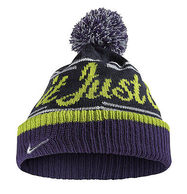 newest collection 873b8 0467d NIKE Just Do It Knit Pom Beanie One Size Fits Most Navy Blue Purple Volt SB