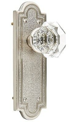 Belmont Plate Set With Old Town Crystal Door Knobs Passage Satin Nickel