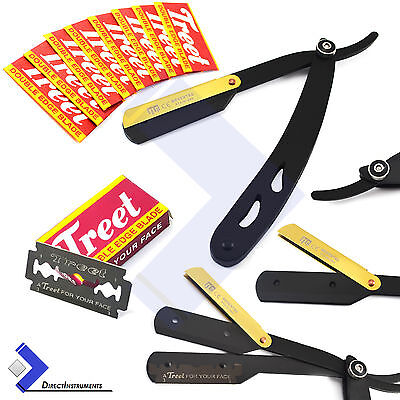 Black Straight Edge Barber Hair Shaving Razor Gold Latch Folding Knife +10 Blade