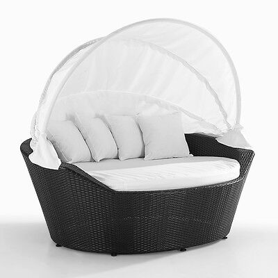 Garden Furniture Loveseat Brown Poly Rattan With Cushions Island Sylt