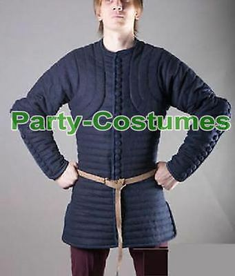 Gambeson Medieval Padded Full Sleeves Armor Reenactment Larp Thick Black Color