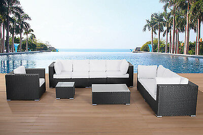 Conversation Set For 8 People With Cushions And Coffee Table Maestro Black