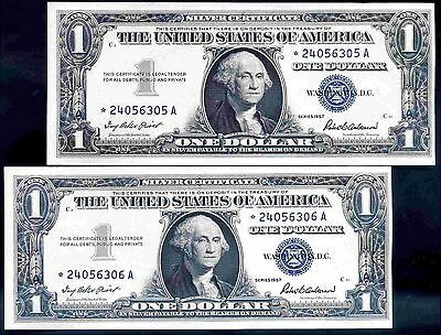 Silver Cert's, $1, Consecutive Pair of Replacements, *24056305-06A, 1957, AU.