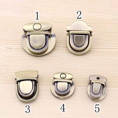 2 X Closure Catch Lock Tuck Clasp Fastener for Leather Bag Metal Bronze Vintage