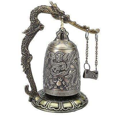 Vintage Bronze Lock Dragon Carved Buddhist Bell Artware Exquisite Home Decor AAU