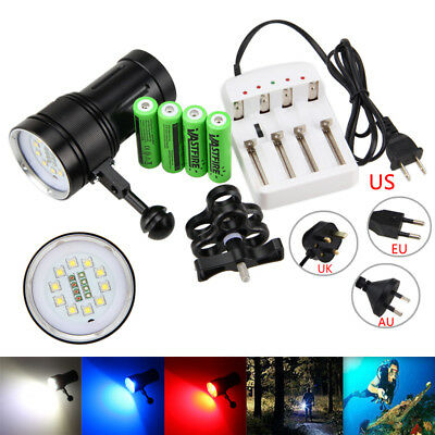 12000LM 10x XM-L2+4x Red+4x Blue LED Scuba Diving Photography Flashlight Torch