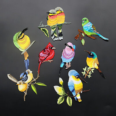 Creative Bird Embroidery Iron on Patch Sewn For Clothing Applique Motif Crafts