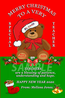 PERSONALISED CHRISTMAS CARD/KEEPSAKE TEACHER SIZE 6x4in WITH ENVELOPE + MAGNET