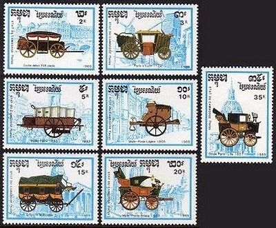 Cambodia 989-995,996,MNH.Michel 1067-1073,Bl.169. PHILEFRANCE-1989,Mail Coaches.