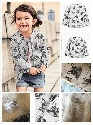 Stunning Brand New Next Girls Fur Lined Bunny Bomber Jacket Age 4-5