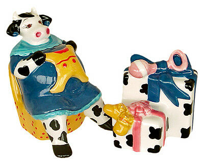 PREGNANT COW w GIFTS Salt & Pepper CLAY ART RETIRED MIB